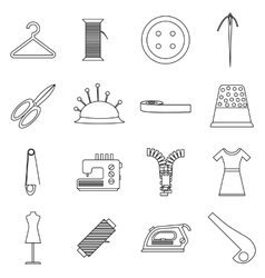 Tailor tools icons set outline style vector image