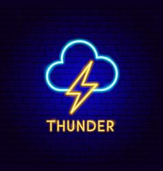 Thunder cloud neon label vector