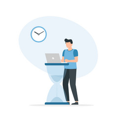 time management concept businessman working with vector image