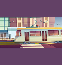 Tram riding on city street trolley car with driver vector
