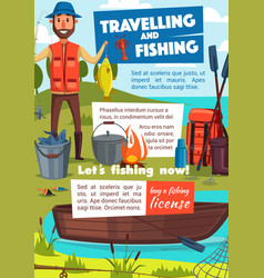 Travelling and fishing poster with fisher and camp vector