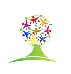 Tree teamwork leaf people figures icon logo vector