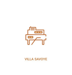 Villa savoye concept 2 colored icon simple line vector