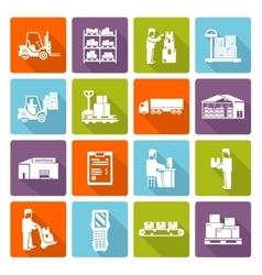 Warehouse Flat Icons Set vector image