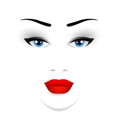 woman face with red lips vector image