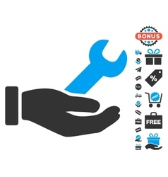 Wrench Service Hand Icon With Free Bonus vector