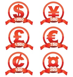 Currency signs red set vector image