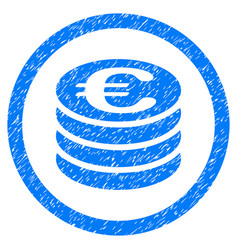 euro coin column rounded icon rubber stamp vector image