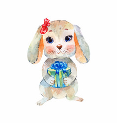 Funny bunny gives a gift watercolor greeting card vector