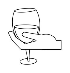 Hand holding glass cup wine thin line vector