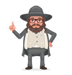 rabbi payot beard traditional jewish costume hold vector image vector image