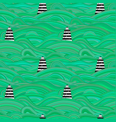 Seamless unusual pattern with waves and vector