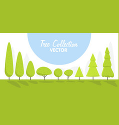 set of abstract cartoon stylized trees natural vector image