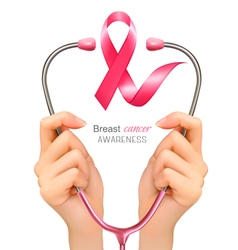 Breast cancer awareness Hands holding a vector image vector image