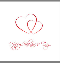 happy valentines day card with two heart vector image