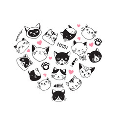 hearth-shaped collection of cat icons vector image