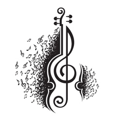 musical notes and violin vector image vector image
