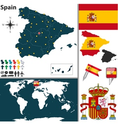 Spain map world vector image vector image