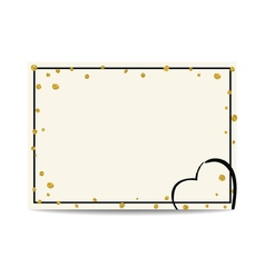 Valentine template with gold glitter dots and vector image
