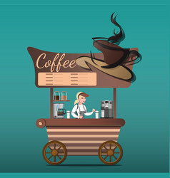 street food shop coffee vector image vector image