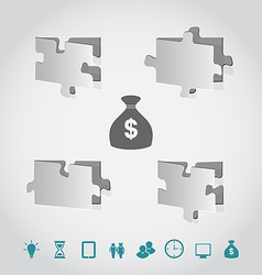 Cut paper puzzles with infographic elements vector image