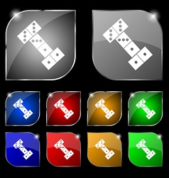 Domino icon sign set of ten colorful buttons with vector