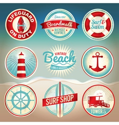 Retro beach labels and badges vector