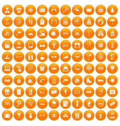 100 glasses icons set orange vector