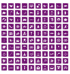 100 joy icons set grunge purple vector