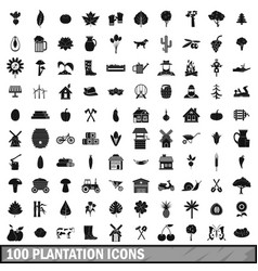 100 plantation icons set simple style vector