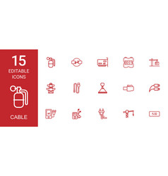 15 cable icons vector image