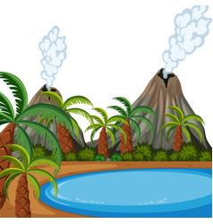A volcano island landscape vector