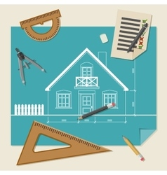 Architectural background with drawing equipment vector
