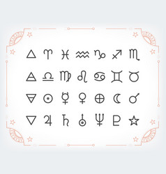 astrology symbols and mystic signs set of vector image