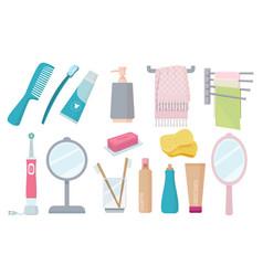 Bathroom accessories toothbrush paste hygiene vector