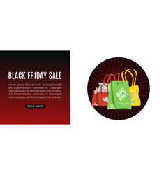 Black friday sale shopping bags marketing web vector