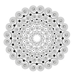 Black white round mandala with spirals vector