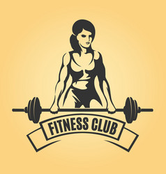 Bodybuilder sport emblem in retro style vector