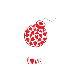 Bomb with hearts inside Love card vector