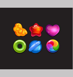 candy game assets for mobile match 3 vector image