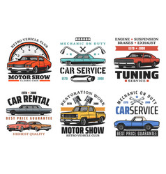 Car tuning restoration and repair service icons vector