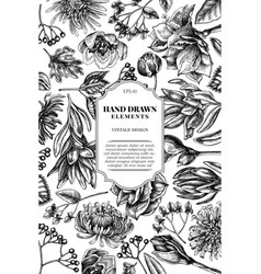 Card design with black and white viburnum vector