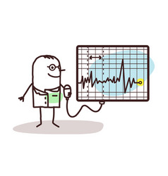 Cartoon doctor with electrocardiogram vector