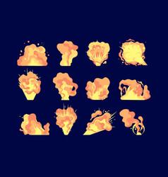 cartoon explosion comics fire blast dynamite vector image