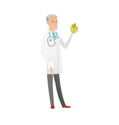 Caucasian nutritionist offering fresh red apple vector