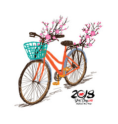 Chinese new year hand drawn tintage bicycle with vector