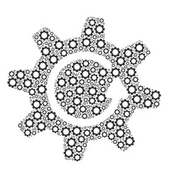 Cogwheel rotation direction collage of cogs vector