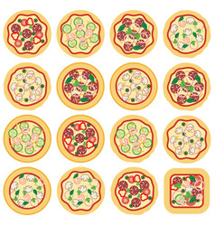 collection of italian pizza icons vector image