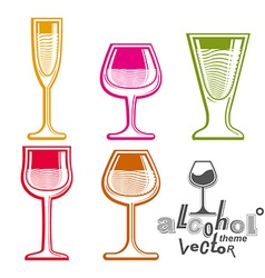 Colorful glasses collection martini wine cognac vector image