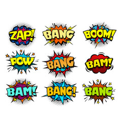 Comic cartoon book bubbles loud exlosion sound vector